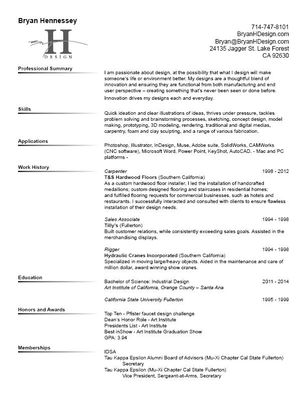 Bryan H Design Resume